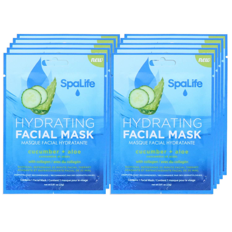 SpaLife Hydrating, Purifying, Anti-Aging, Detoxifying and Soothing Korean Facial Masks - 10 Masks - (Cucumber + Aloe)