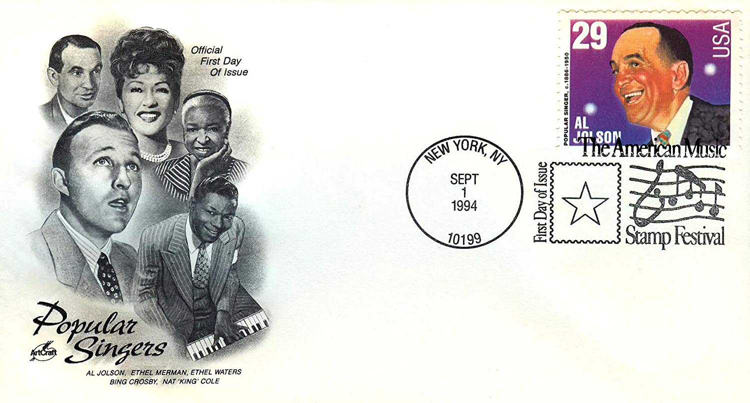 Lot #44 Set of 6 US First-Day Covers Popular Singers Issued 1994
