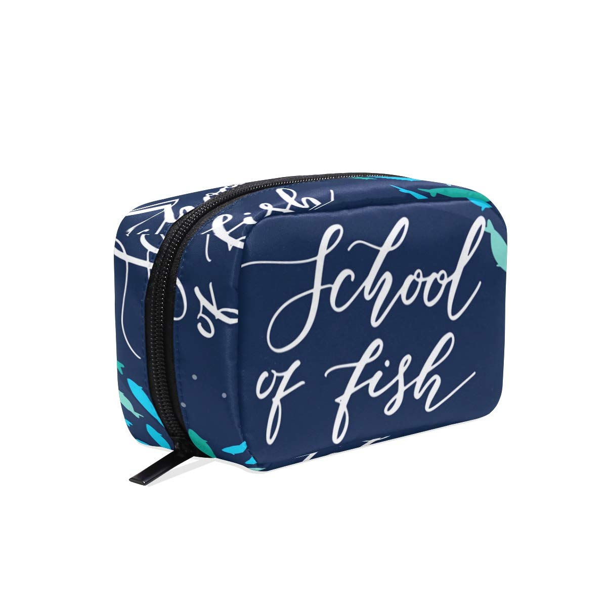 ILEEY School Of Fishes Cosmetic Pouch Clutch Makeup Bag Travel Organizer Case Toiletry Pouch for Women