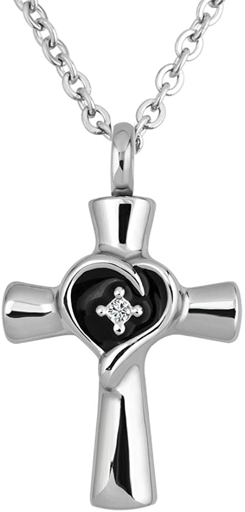 Q&Locket Religion Cross Heart Memorial Urn Necklaces Ash Holder