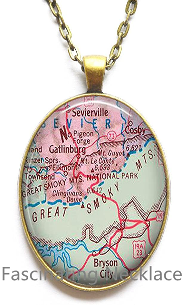 HandcraftDecorations Charming Necklace,Great Smokey Mountains National Park map Pendant Great Smokey Mountains Pendant, map Jewelry,AO269