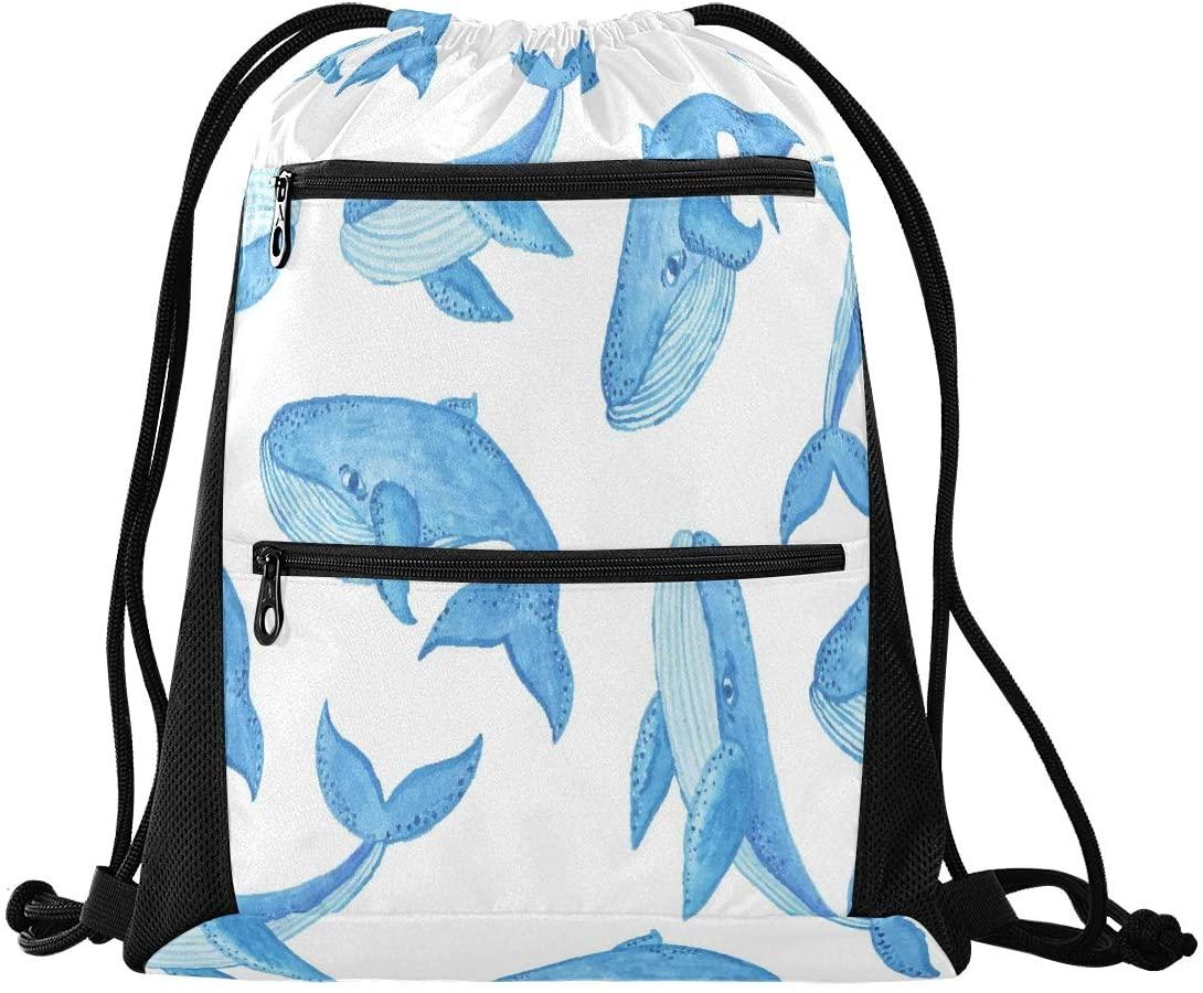 Drawstring Backpack Sport Gym Sackpack - Blue Whale Drawstring Bag with Zipper Pocket Gym Sack Pack Sport Backpack for Travel Shopping