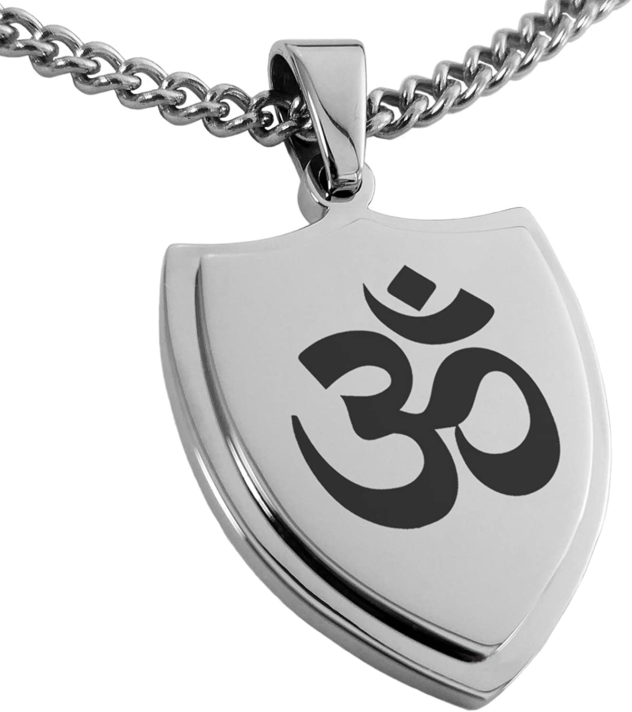 Tioneer Stainless Steel Sacred Sanskrit Om Shield Pendant Necklace
