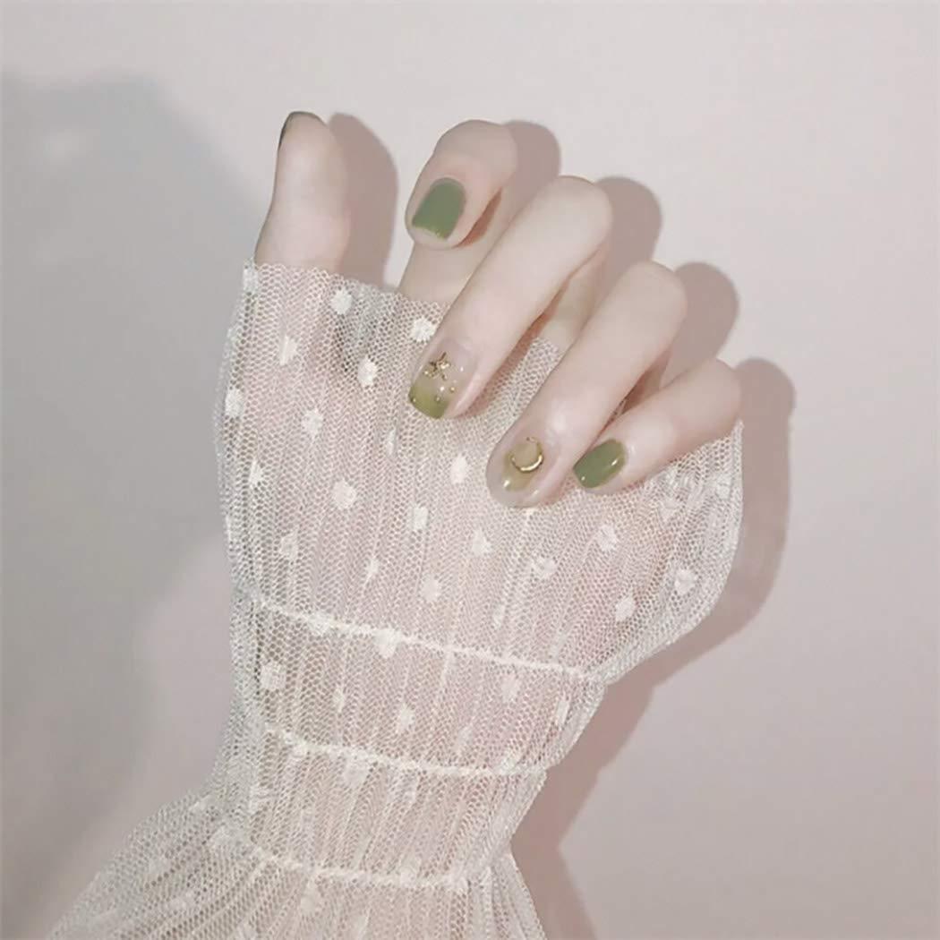 Obmyec Square Glitter False Nails Green Gradient Fake Nails Ballerina Party Nails Glossy Full Cover Medium Art Tips Press on Nail for Women and Girls (24pcs)