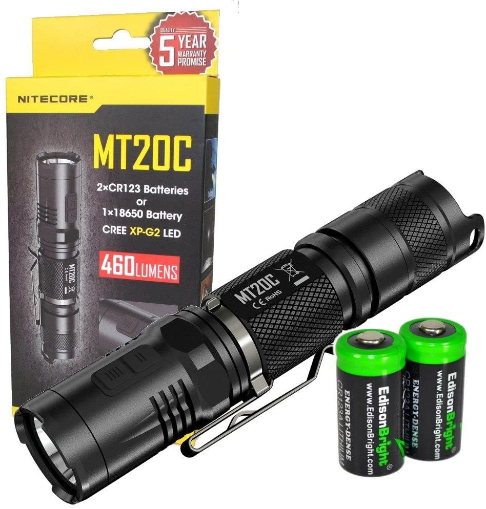 EdisonBright NITECORE MT20C 460 Lumens CREE XP-G2 LED Tactical Flashlight with 2 X CR123A Lithium Batteries Bundle