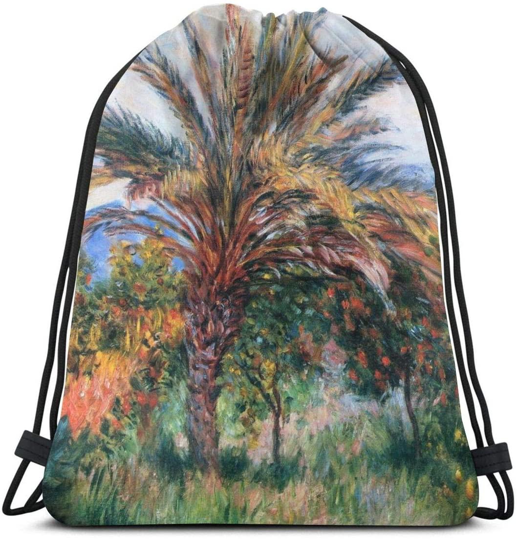 Backpack Drawstring Bags Cinch Sack String Bag Claude Monet Impressionism Palm Tree At Bordighera Sackpack For Beach Sport Gym Travel Yoga Camping Shopping School Hiking Men Women