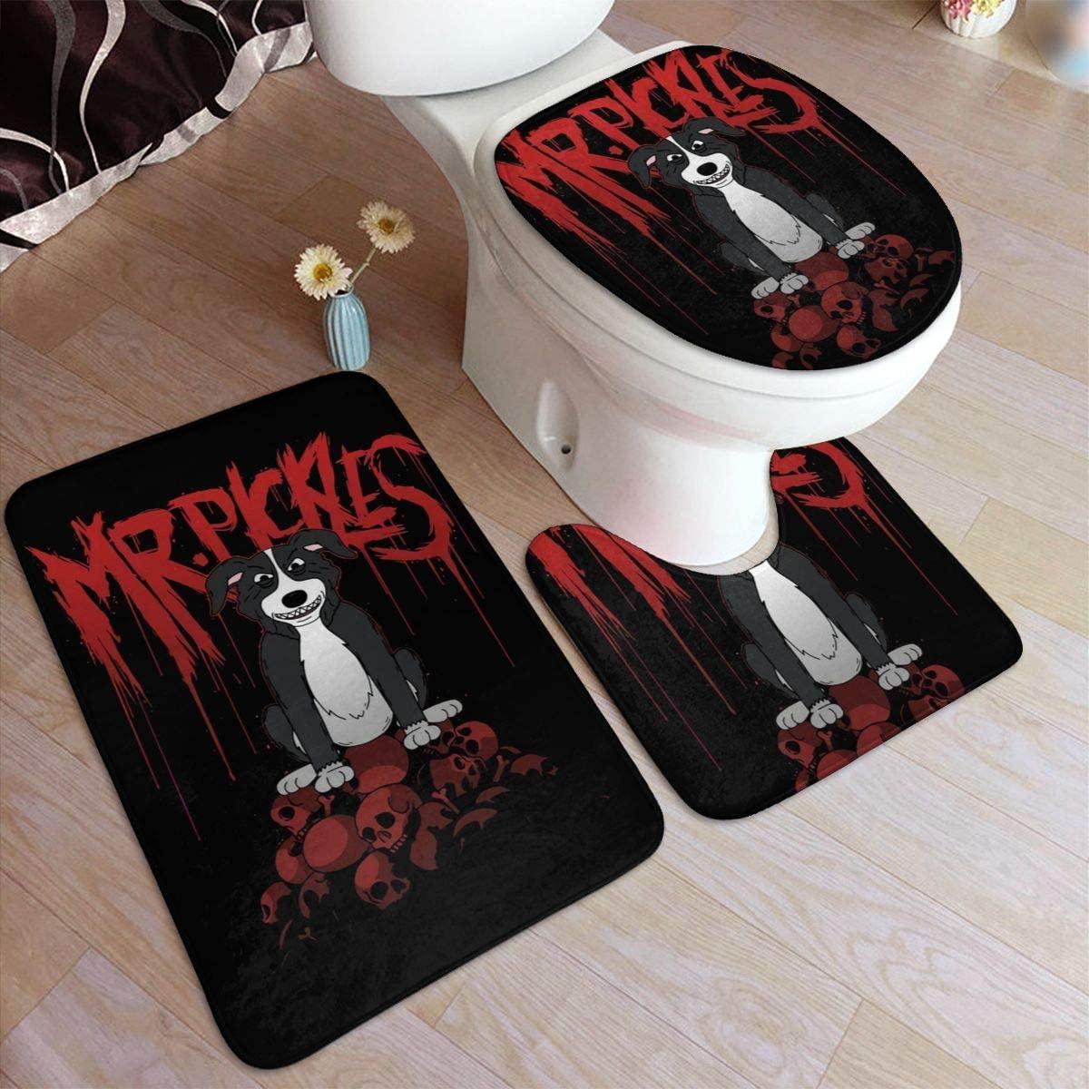 Mr. Pickles Bathroom Rug Mats Set 3 Piece Anti-Skid Pads Bath Mat + Contour + Toilet Lid Cover Bathroom Antiskid Pad 19.5in31.5in