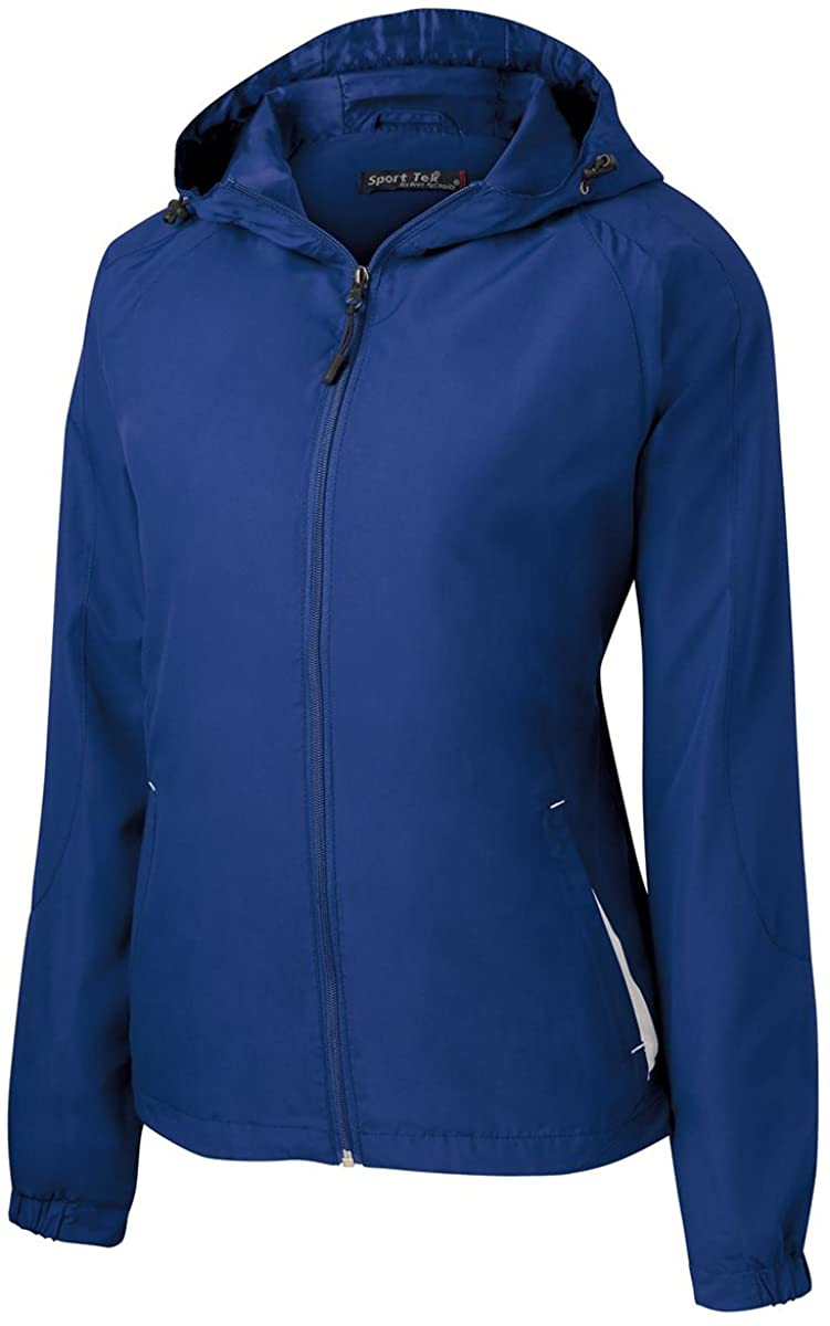 Sport-Tek LST76 Ladies Colorblock Hooded Jacket - True Royal/White - 3XL