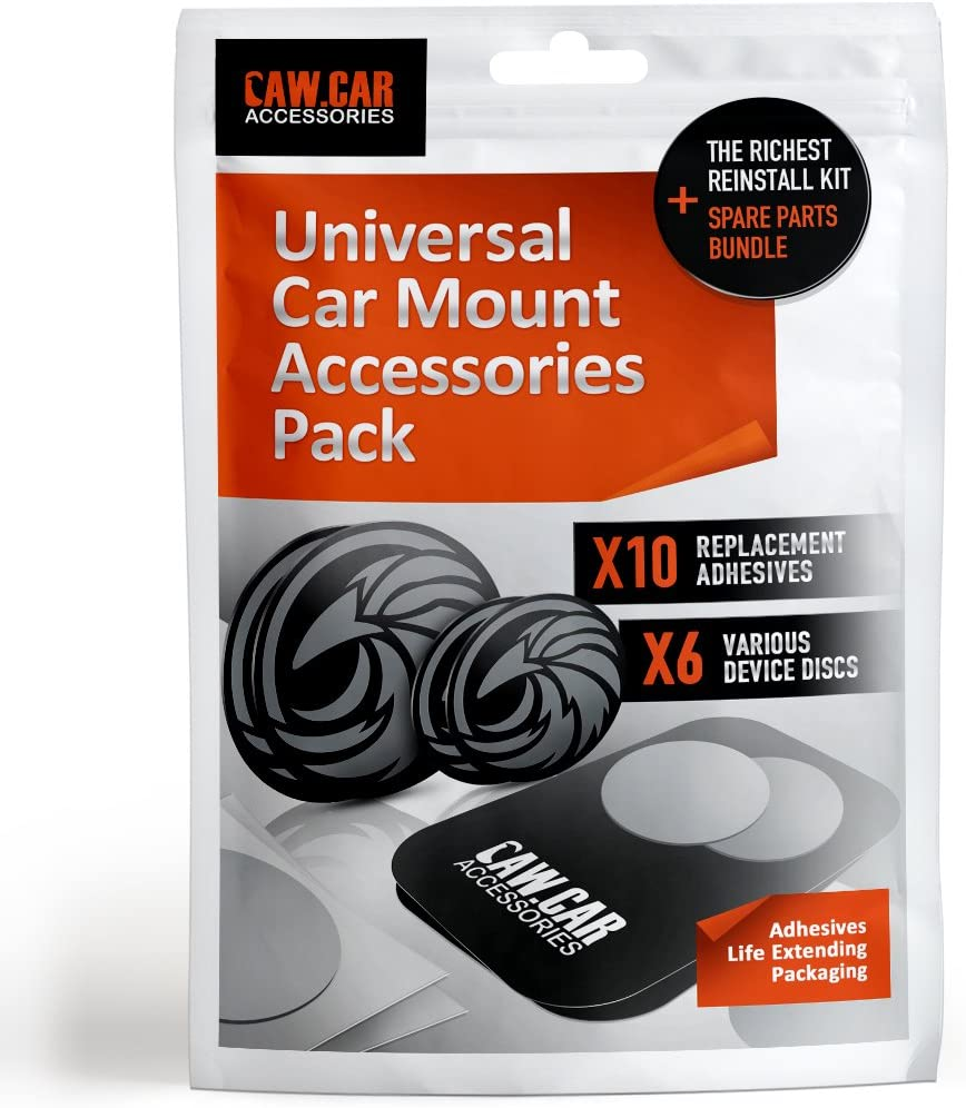 The Richest Replacement Pack for Any Magnetic Car Mount - PopSocket Compatible Metal Phone Plates (Discs) and 3M Adhesive Stickers in Unique Adhesives Life Extending Packaging