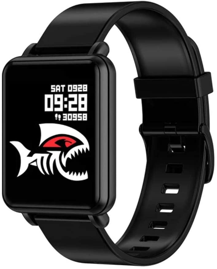 Oberlo Bluetooth Sport Fitness Tracker Smartwatch for iOS Android Phone (Silicone Strap Black/US)