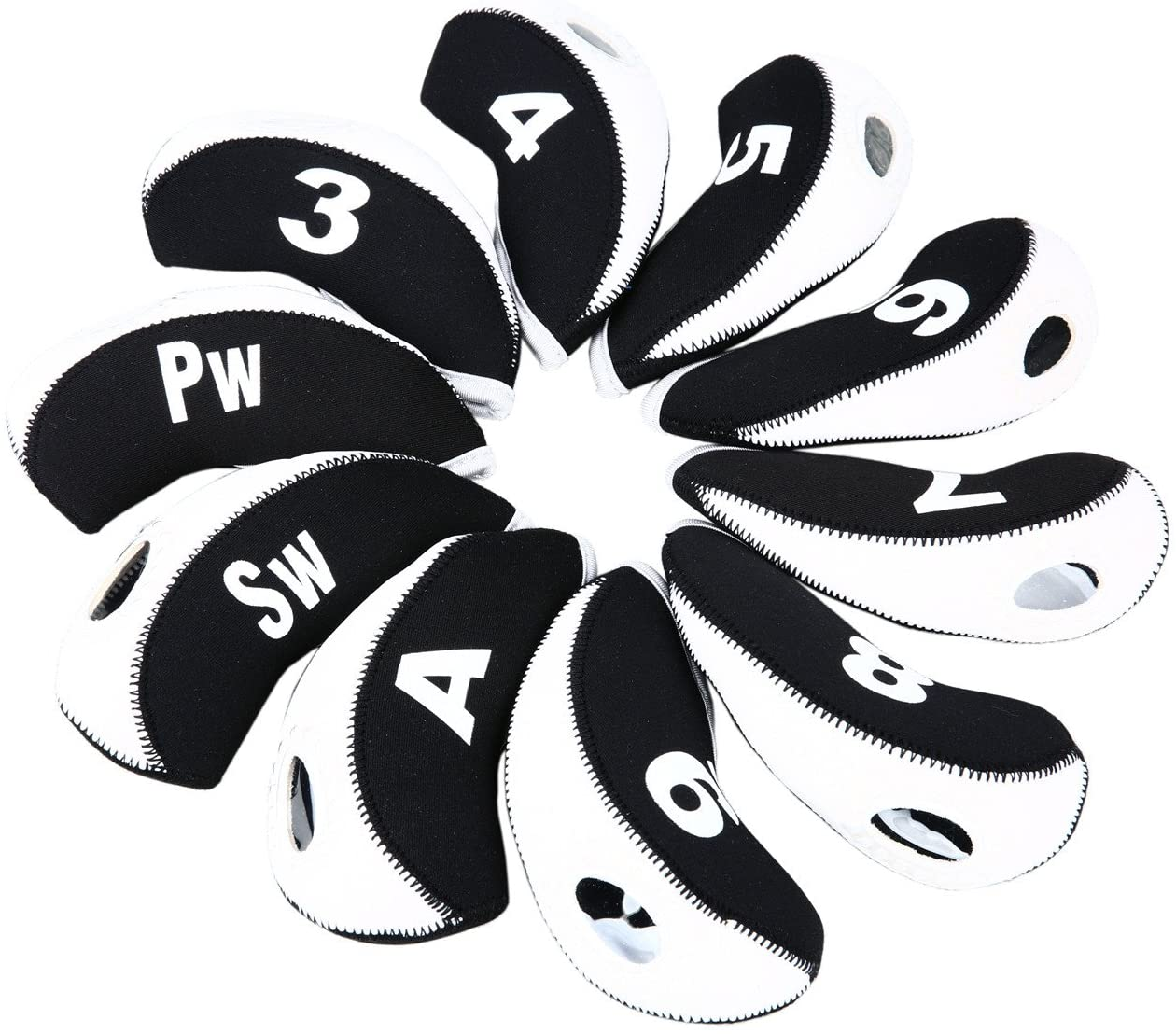 Sword &Shield sports 10pcs/Set Golf Iron Club Head Covers with Numbers Neoprene Top Window Iron Covers