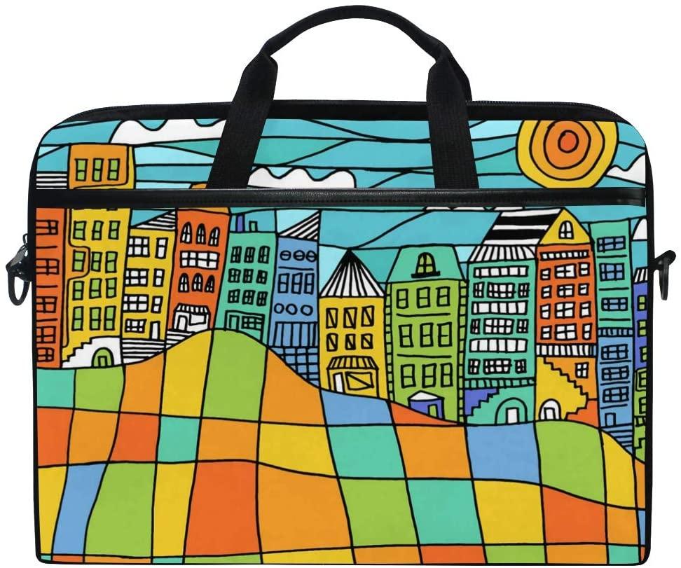Colorful Block Cityscape Multifunctional Laptop Briefcase Tablet Bag Tote Computer Case Handbag Pouch for Men Women