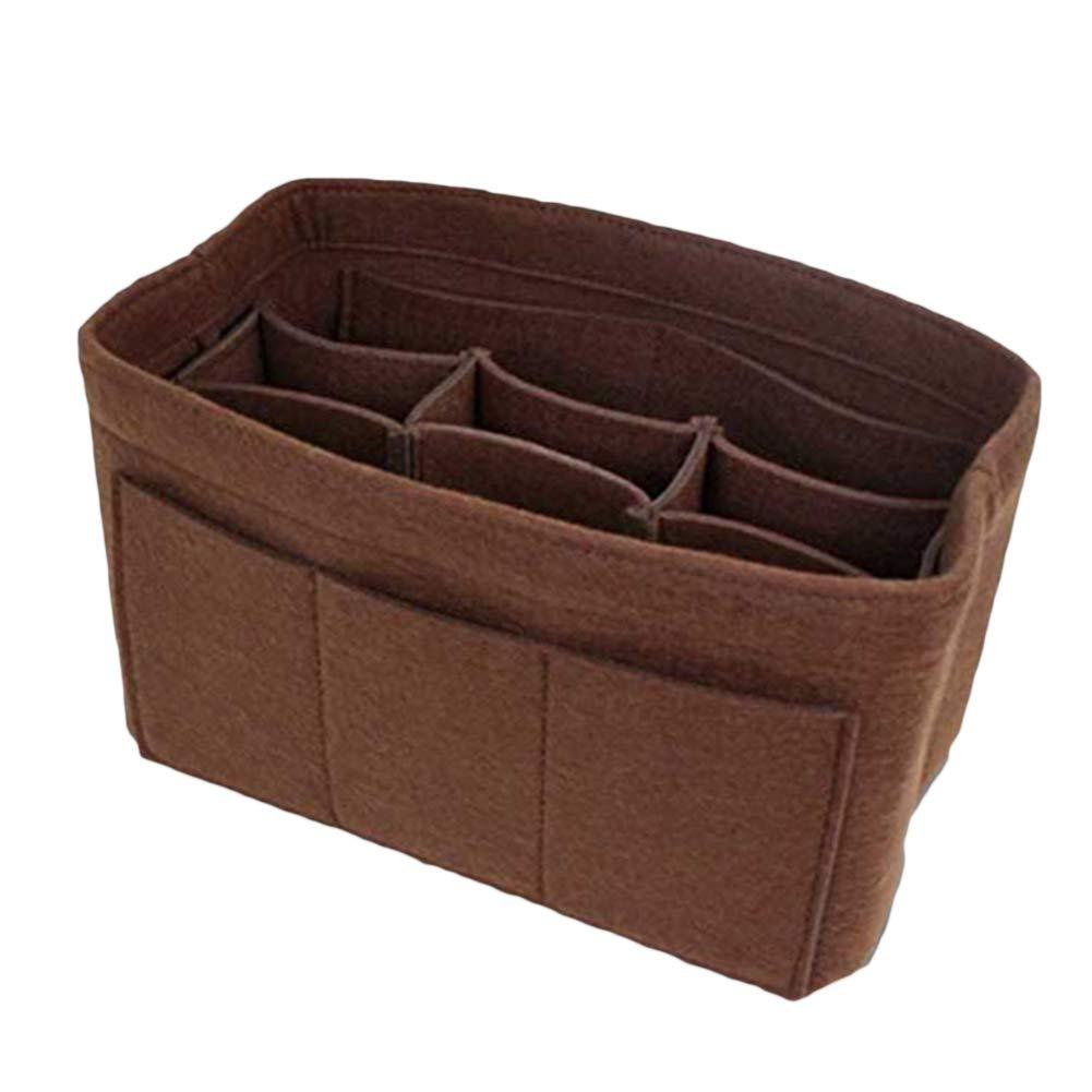 Anniston Cosmetic Bag, Multi-Grids Waterproof Large Capacity Makeup Cosmetic Storage Bag Felt Organizer Travel Makeup Bag Toiletry Bags Cosmetic Case Makeup Organizer Dark Coffee XL