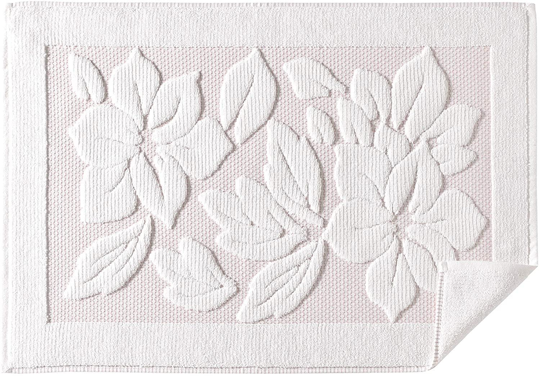Bath Rug Bathroom Mats Bathtub Shower Sink Floor Towels 100% Cotton Towel for Feet (Cream with Pink Seams)