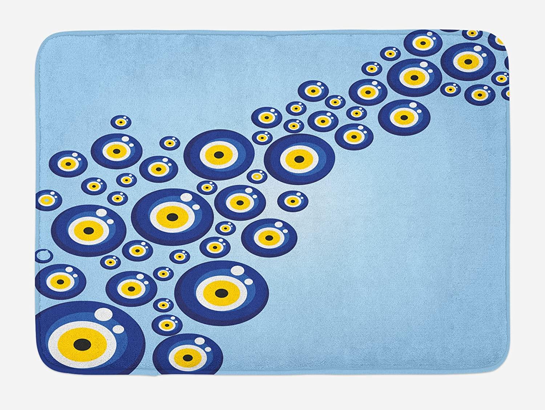 Ambesonne Evil Eye Bath Mat, Diagonal Evil Eye Pattern Lively Protection Turkish Cultural, Plush Bathroom Decor Mat with Non Slip Backing, 29.5 X 17.5, Blue Pale Blue Yellow