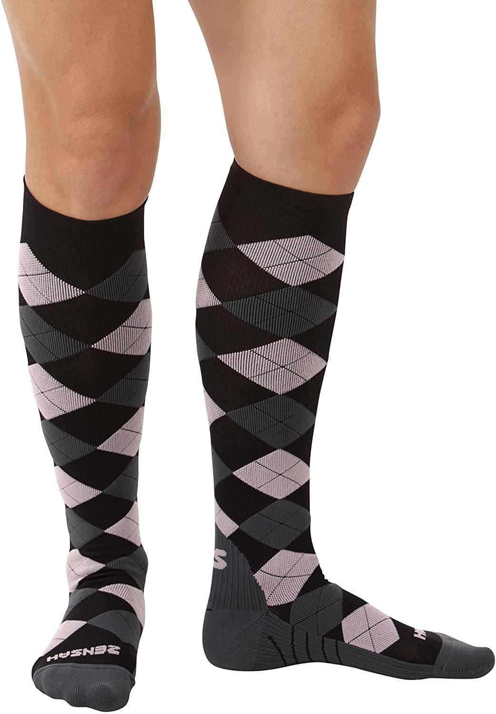 Zensah Argyle Compression Socks,Black/Grey/Pink,Medium