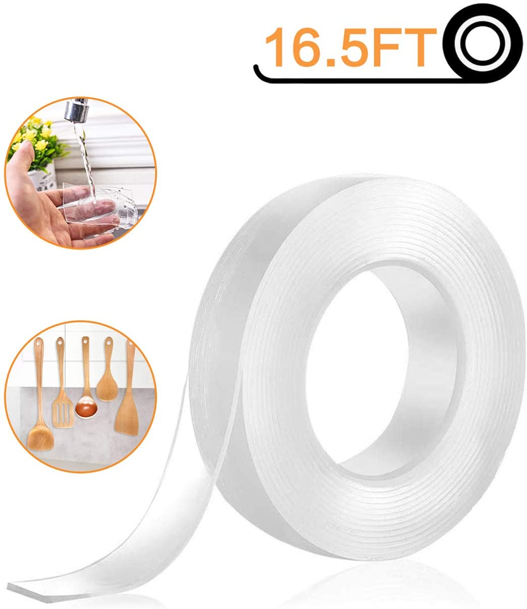 Nano Tape Double Sided Tape Heavy Duty - One Non-Slip Gel Grip Poster Tape Transparent Removable Washable Adhesive Sticky Rug Griper Mat Pads for Mounting Carpet - 16.5