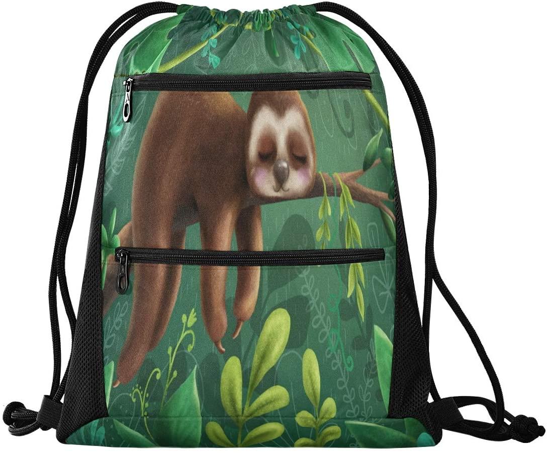 Drawstring Backpack Sport Gym Sackpack - Cute Sloth In The Forest Drawstring Bag with Zipper Pocket Sport Cinch Pack Sport Backpack for Music Festiva Dance
