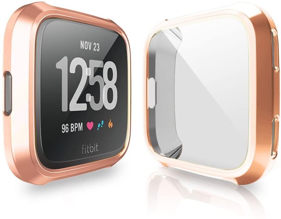 Fitbit Versa Screen Protector Case, JZK Scratch-Resistant Flexible Lightweight Plated TPU Fullbody All-Around Protective Case for Fitbit Versa Smart Watch Accessories,Champagne Gold