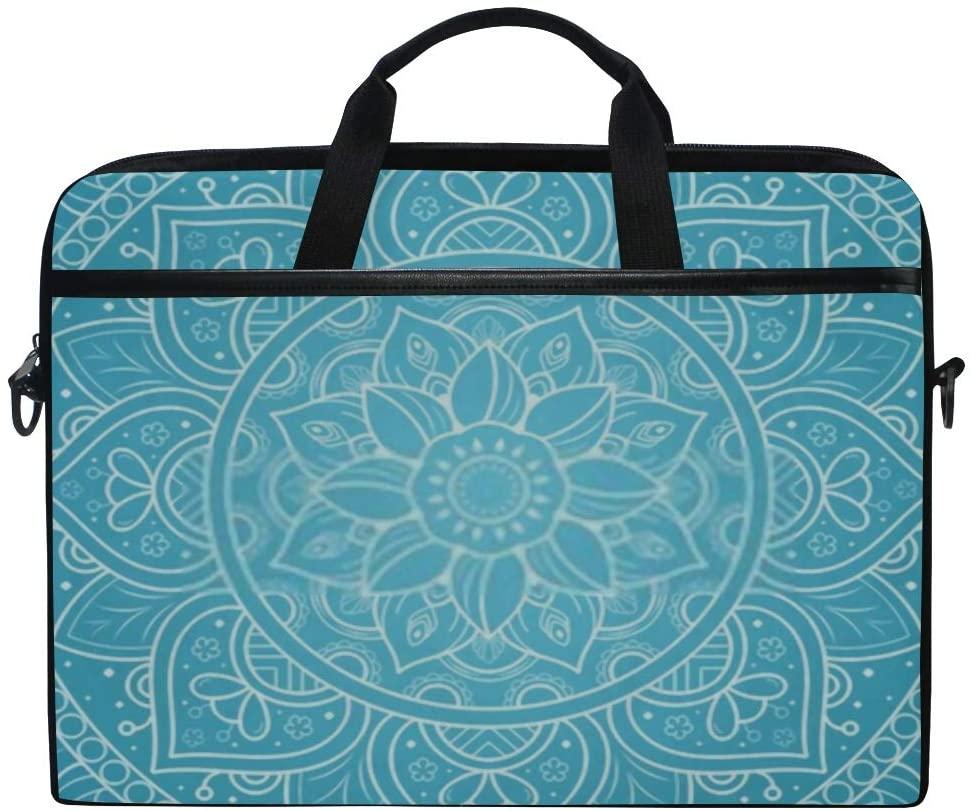 Laptop Bag Circular Flower Mandala Vintage Floral Style 15-15.4 Inch Laptop Case Sleeve, Briefcase Messenger Shoulder Bag for Men Women, College Students Business People Office Workers