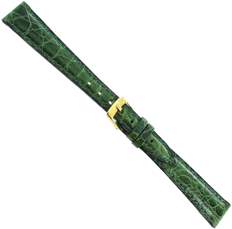 14mm Morellato Crocodile Grain Green Padded Leather Ladies Watch Band 751
