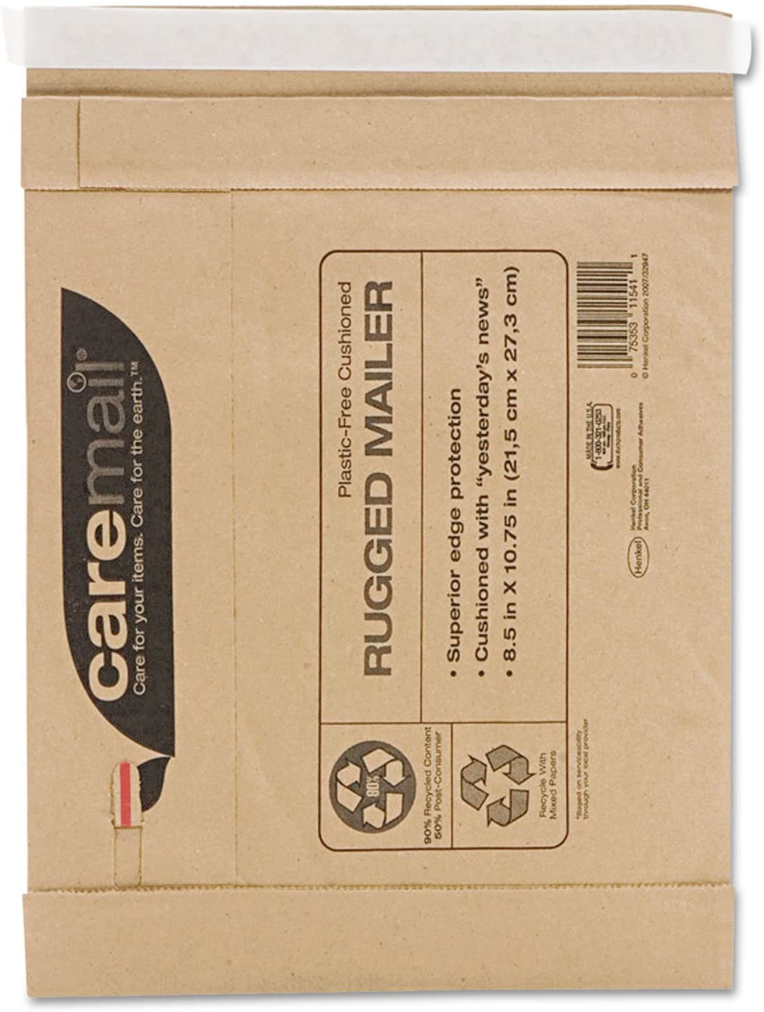 Duckamp;reg; Caremail Rugged Padded Mailer, Side Seam, 8 1/2 x 10 3/4, Light Brown, 25/Pack