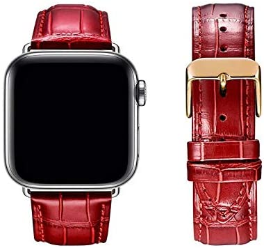 Premium Compatible with Apple Watch strap 38mm / 40mm / 42mm / 44mm Italian first layer cowhide strap, metal pin buckle Red strap compatible with iWatch series 5/4/3/2/1 Professional & Comfortable