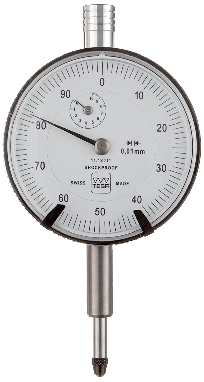 Brown & Sharpe TESA 14.12010 Dial Gauge Indicator, M2.5 Thread, 8mm Stem Dia., White Dial, 0-25-50 Reading, 40mm Dial Dia., 0-5mm Range, 0.01mm Graduation, +/-0.012mm Accuracy