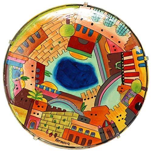 Yair Emanuel Hand Painted Leather Jerusalem Design Tambourine (TM-1)