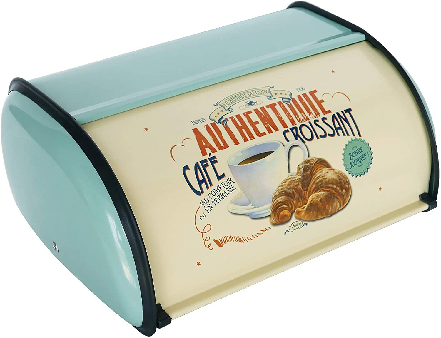 NIKKY HOME Vintage Metal Roll Top Lid Bread Box Turquoise
