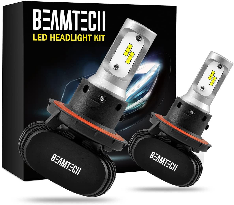 BEAMTECH H13 LED Headlight Bulb, 50W 6500K 8000Lumens Extremely Brigh (9008 Hi/Lo) CSP Chips Conversion Kit