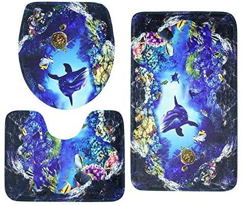 weizhang 3Pcs/Set Bathroom Mat Set Ocean Underwater World Anti Slip Kitchen Bath Mat Coral Fleece Floor Mats Washable Bathroom Toilet Rug 7