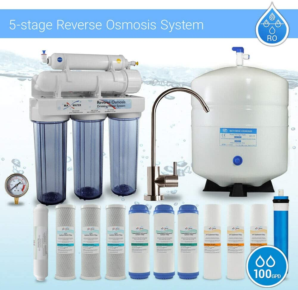 Max Water 5 Stage Home Reverse Osmosis System/Reverse Osmosis Water Filtration System/RO Water Filtration System Under Sink RO Water Purifier Faucet and Tank 100 GPD