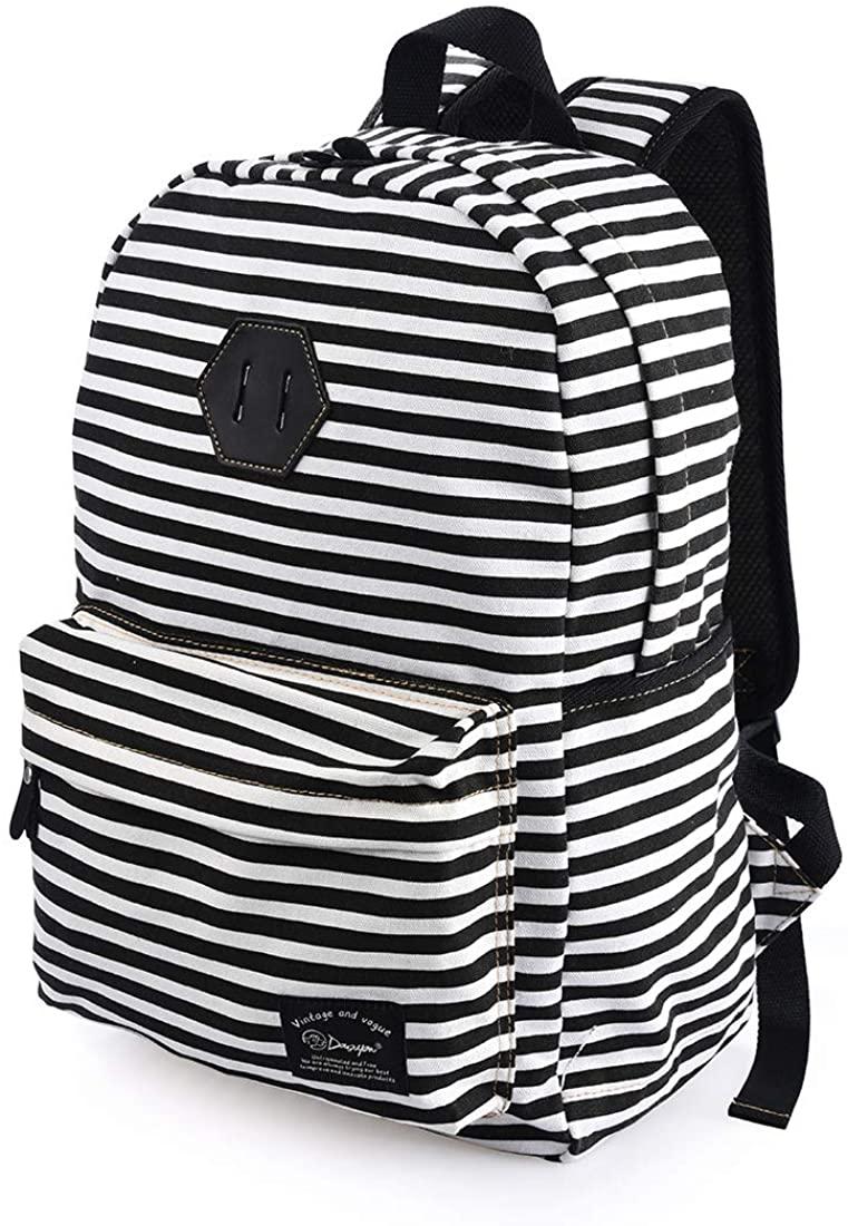 Girls Fashion Floral Backpack School Student Canvas Bag Rucksack Casual Daypack 342black
