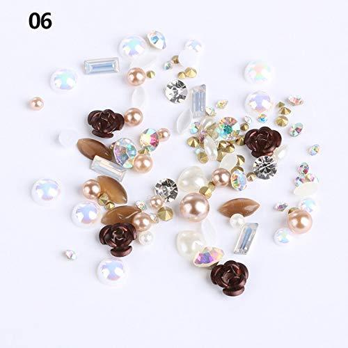1 Box 3D Mix Gems Nail Art Rhinestones Rose Flowers Nail Glitters Crystal Nail Art Decoration DIY Beauty Manicure Tips
