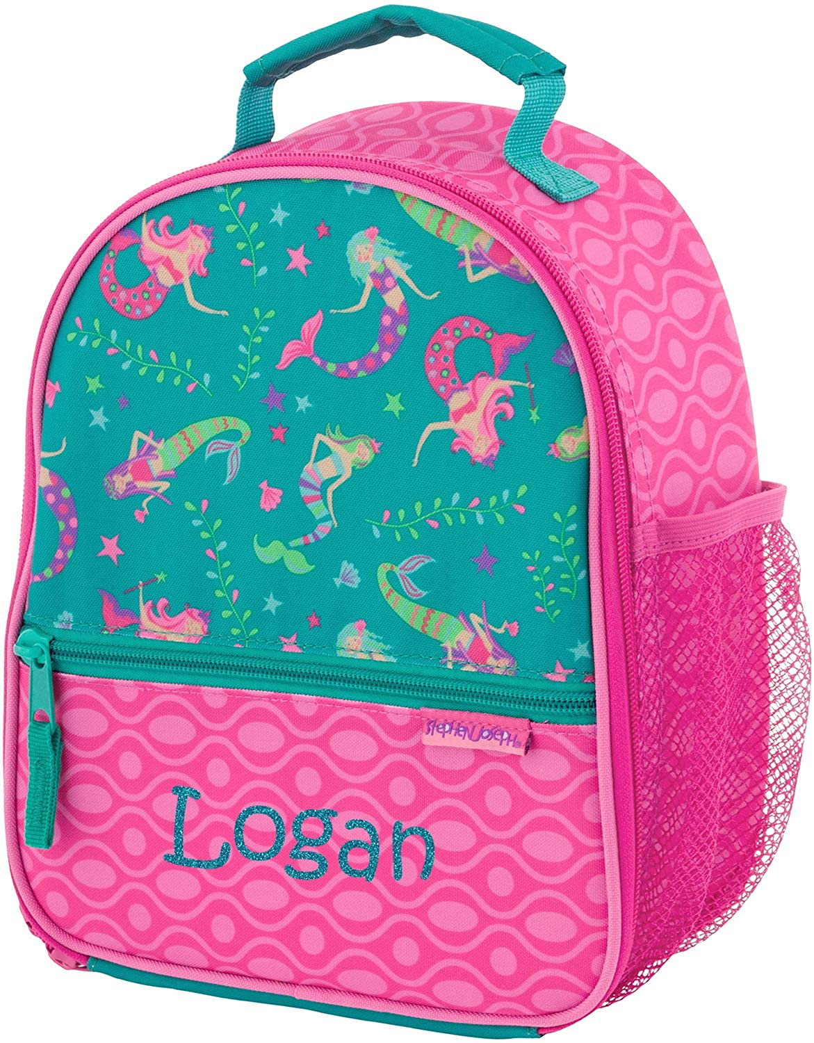 Monogrammed Me Personalized All Over Print Lunch Box, Pink Mermaid, with Custom Glitter Vinyl Name