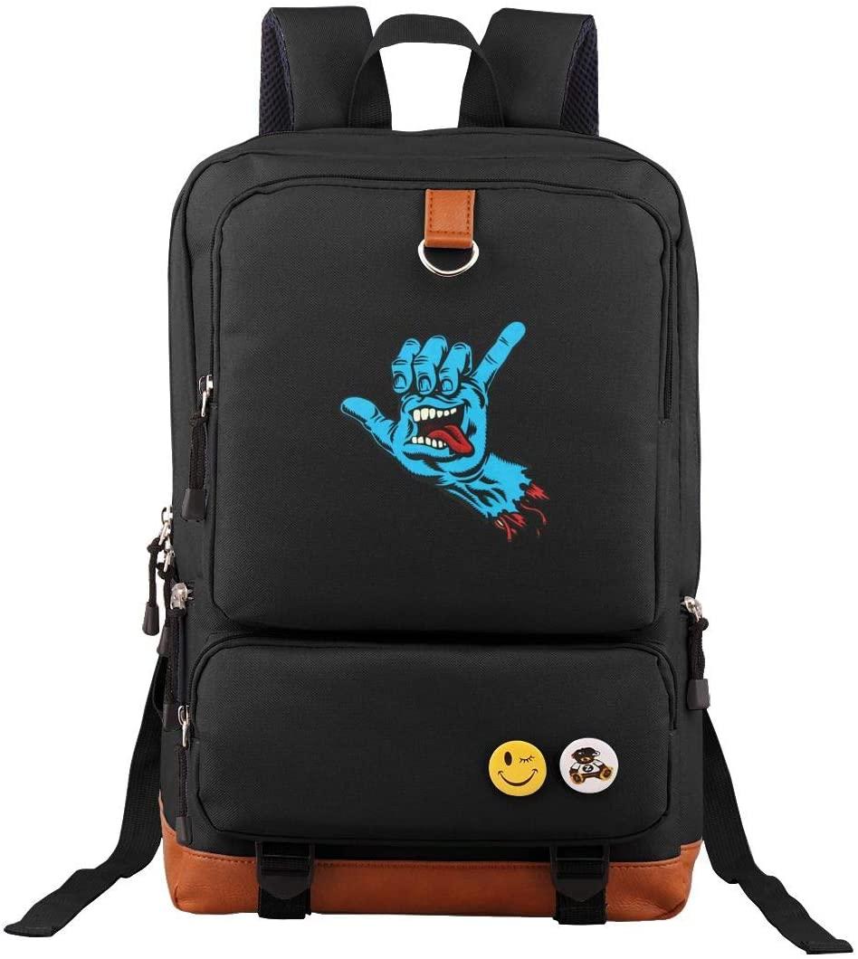Santa Cruz Screaming Hand Oxford Waterproof Anti-Theft Laptop Backpack Rucksack Large Capacity Backpack Rucksack Travel Backpack for Men Women Black
