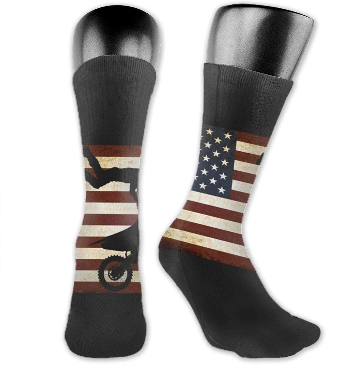 Motocross Bike American Flag Unisex Outdoor Long Socks Sport Athletic Crew Socks Stockings