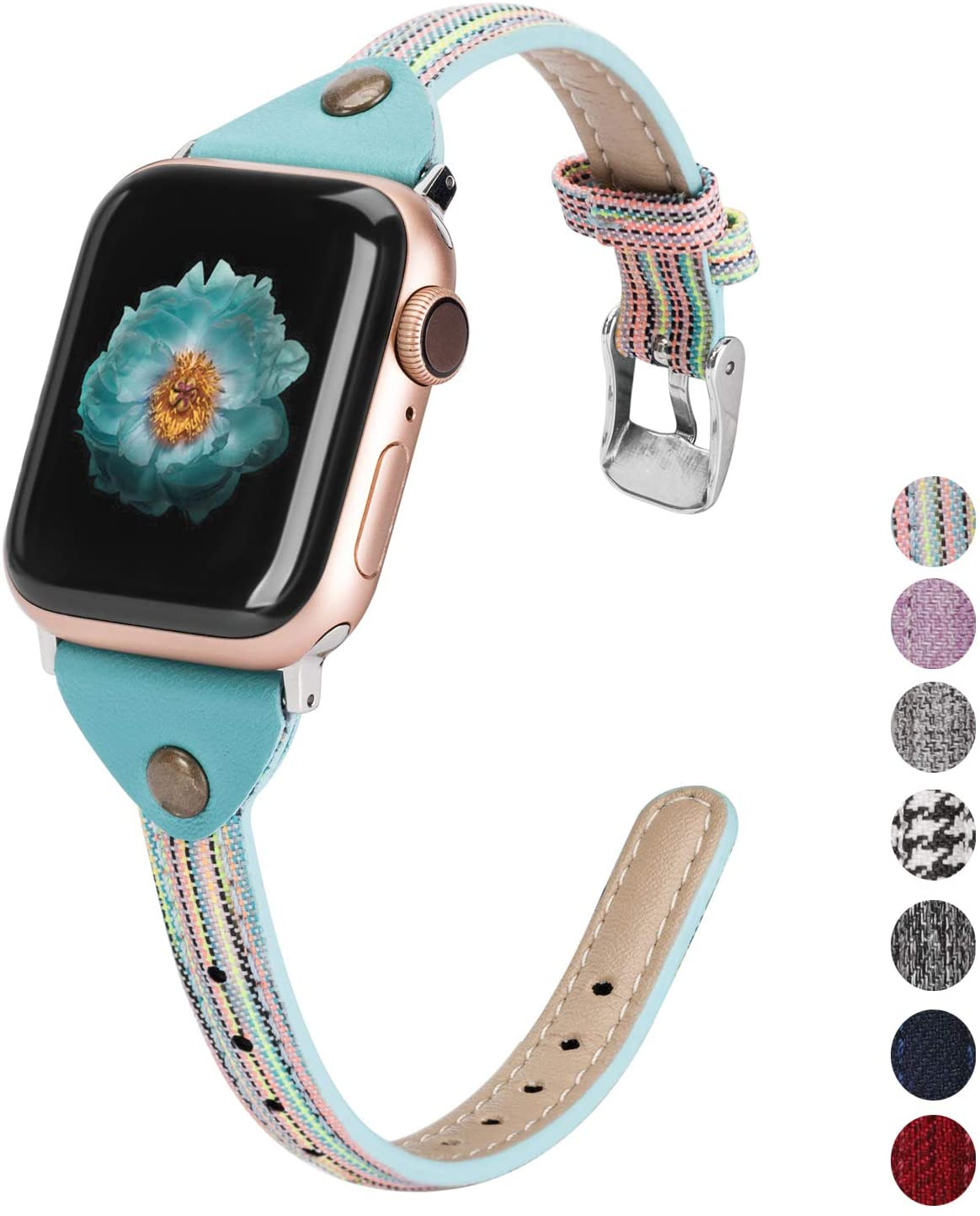 Wearlizer Compatible with Apple Watch Bands 38mm 40mm Woven Canvas Womens Slim Fabric Cloth Wristband Feminine Thick Thin Skinny Classic Durable Strap for iWatch Series 5 4 3 2 1-Colorful