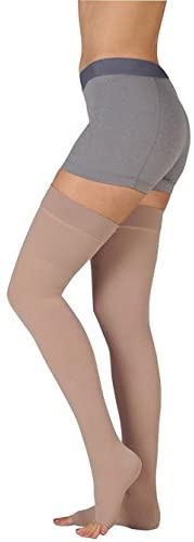 Juzo 3512MXAGSBSH10 III Dynamic Max 30-40 mmHg Open Toe Thigh High Firm Compression Stockings With Silicone Border In Short - Black44; III - Medium
