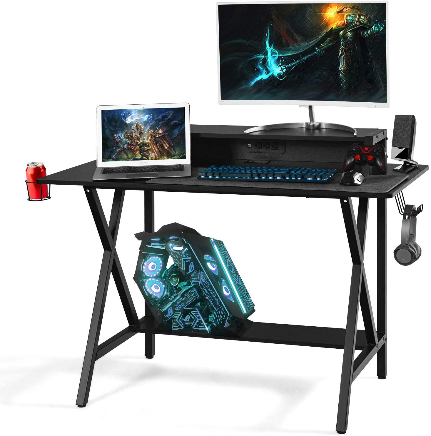 Gaming Desk with Monitor Shelf, 48 Inches E-Sport Gamer Workstation PC Stand Shelf Built-in Power Strip with USB, Home Office Computer Desk Writing Table with Cup and Headphone Holder, Black