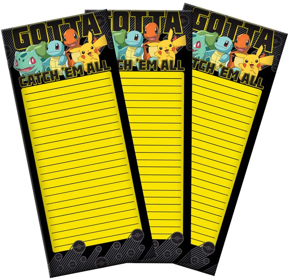 Pokemon Gotta Catch Em All! Magnetic to Do List Notepad. 3 Pack Bundle - 80 Sheets per Pack