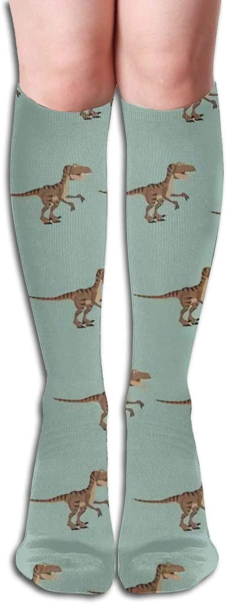 Raptor Dinosaur,Design Elastic Blend Long Socks Compression Knee High Socks (50cm) for Sports