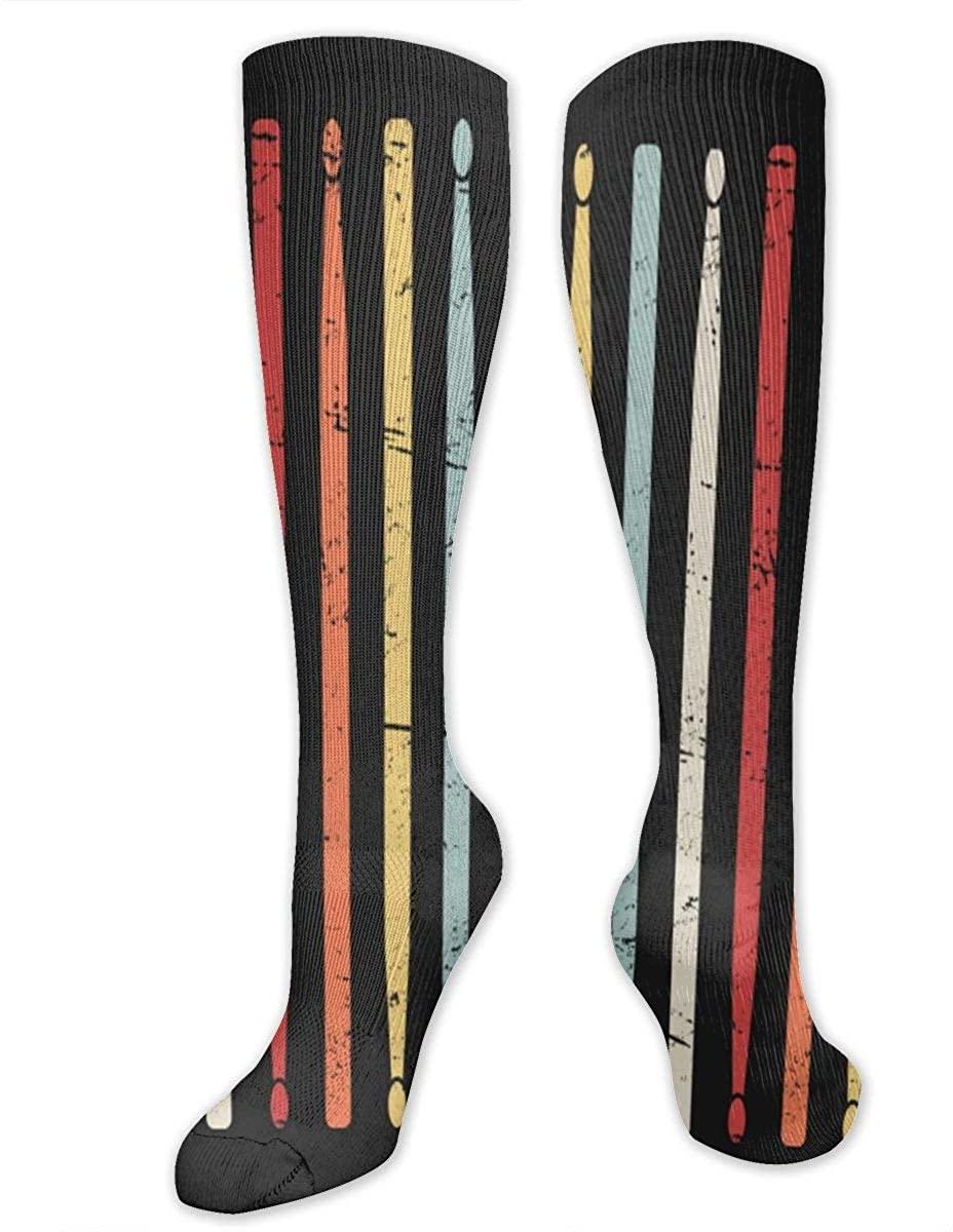 Retro Drum Sticks Athletic Socks Thigh Stockings Over Knee Leg High Socks