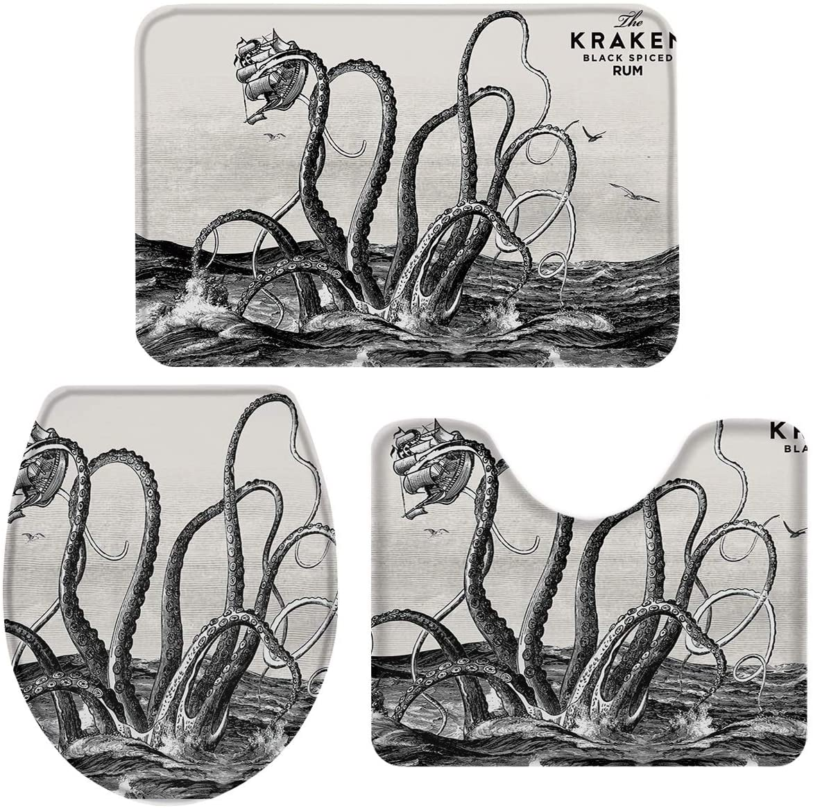 T&H Home Bath Rug Sets 3 Piece for Bathroom - The Kraken Black Spiced Rum Retro Octopus in Ocean Ultra Soft Non-Slip Absorbent Shower Mat, Contour Mat & Toilet Lid Cover 20