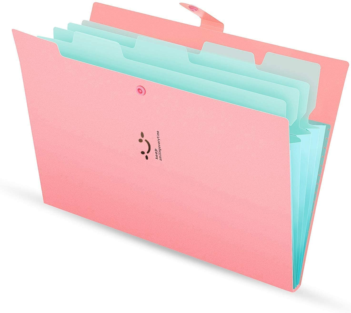 ZALALAS Letter A4 Paper Expanding File Folder Pockets Accordion Document Organizer for School Office Home(Pink)
