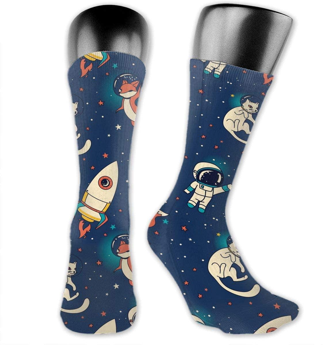 Cat Astronauts Unisex Outdoor Long Socks Sport Athletic Crew Socks Stockings
