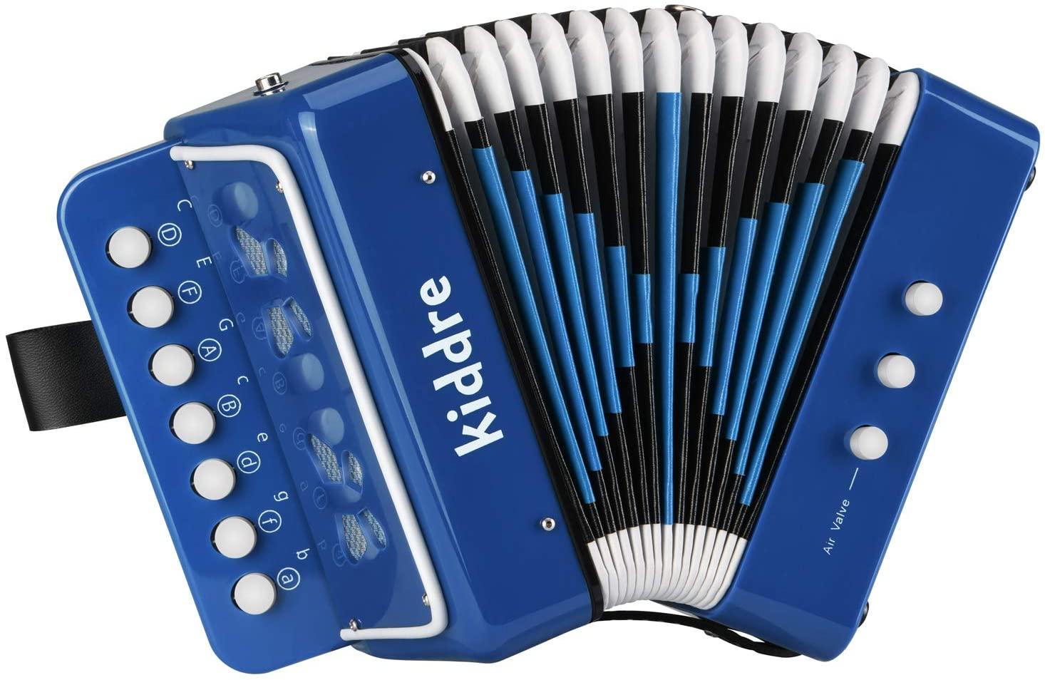 Kiddire Kids Accordion, 10 Keys Button Toy Accordion Musical Instruments for Children Kids Pre-Kindergarten Toddlers Beginners(Blue)