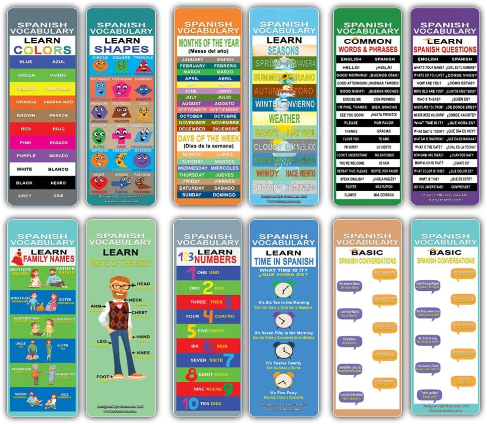 Learn Spanish Vocabulary Learning Bookmarks Cards (12-Pack) – Easy Spanish Learning Pack - Party Favors Teacher Classroom Reading Rewards Cool Gifts for Young Readers Bibliophiles Kids Adults