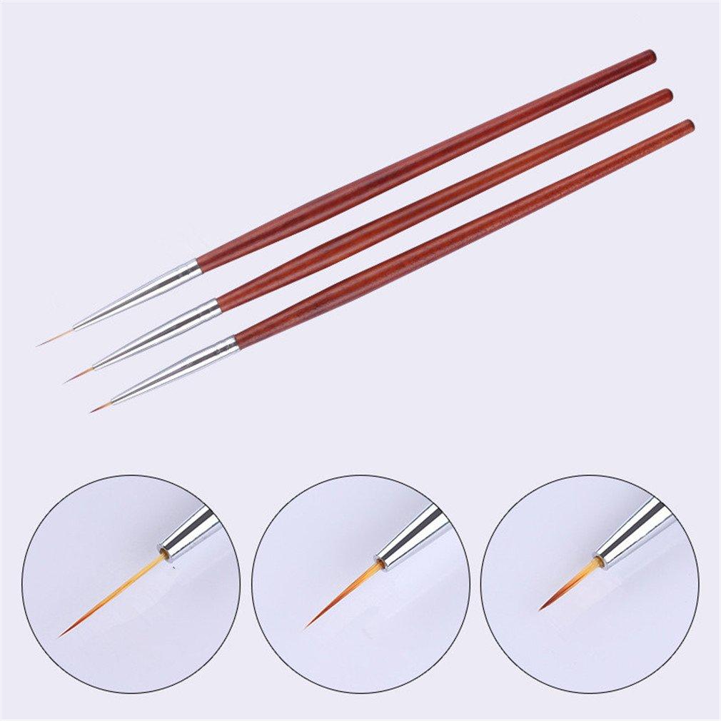 3Pcs Gel Brush Kit 7Mm 9Mm 11Mm Painting Brush Liner Wooden Red Handle Nail Art Pen Set Drawing Tools Manicure Polish
